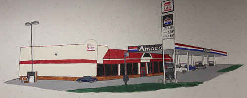 Knox, Indiana BP/ Amoco Zingo Express Gas Station Mural: Amoco/ Burger King