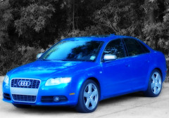 Audi 2454 (Jobe Roco) Tags: auto blue car sedan photoshop manipulated louisiana automobile lafayette desaturated a4 audi orton 2007 2454