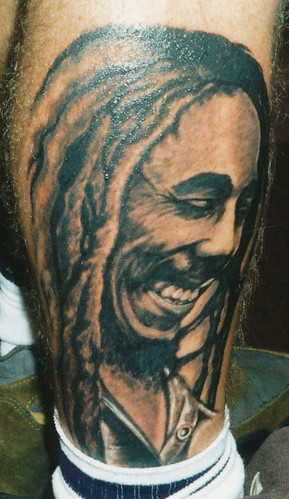 Bob Marley Calf Tattoo