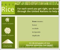 freerice.com is the DIFF - so says the Quicken Loans blog!