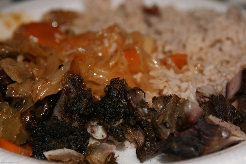 rice and peas and veggies and jerk