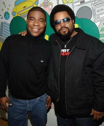 pictures of ICE CUBE & TRACY MORGAN on MTV TRL promoting their new movie FIRST SUNDAY