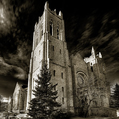 Westminster (again) (bryanscott) Tags: city bw church westminster sepia winnipeg gothic manitoba hdr wolseley