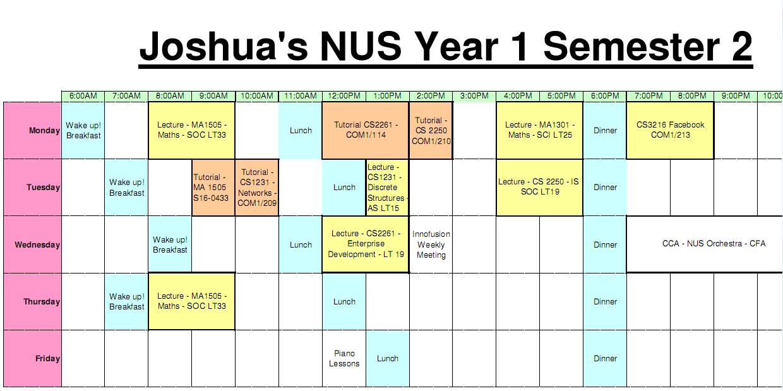 semester timetable template