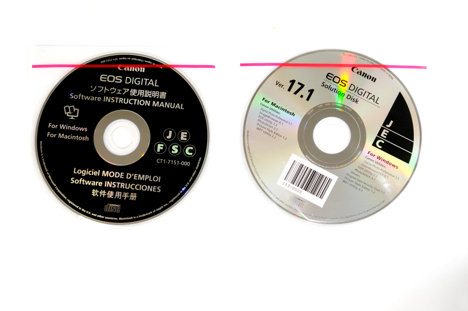 Two software CDs that come with the Canon XSi / 450D