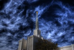 Heavenly (Thad Roan - Bridgepix) Tags: blue sky white statue architecture clouds temple gold centennial colorado denver lookup explore wikipedia mormon lds heavenly hdr photomatix 200805 skyarchitecture mywinners