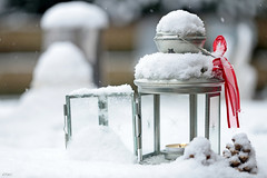 A touch of red.... (eleni m ( busy remodeling house and garden)) Tags: snow garden outdoor dof pinecones white red candle table quote ribbon lantern tealight snowflakes winter