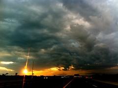 Sky While Driving 3   ***EXPLORED*** (Mrfubar32x) Tags: cameraphone light sunset sky sun colors mobile clouds driving phone bright iphone iphoneography