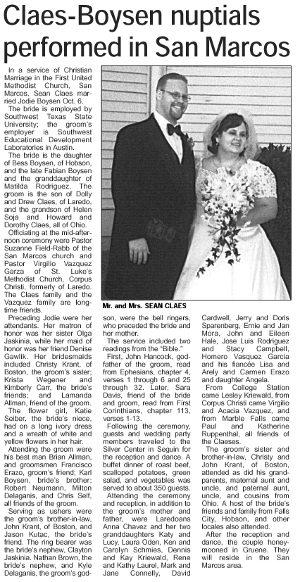 The Claes-Boysen Wedding Story