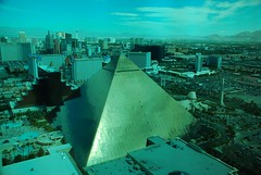 Vegas Day (juliaclairejackson) Tags: california above city vegas blue usa sunlight america gold lights hotel golden daylight high day cityscape view pyramid bright lasvegas nevada panoramic vista daytime thestrip outrageous sincity theluxor shone