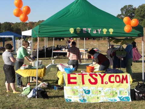 Etsy Booth: setting up