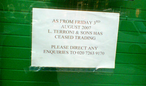 Sign on door of Terroni and Sons