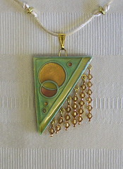 Art Deco Cloisonne Pendant Close up (auntgriz) Tags: necklace clay cloisonne polymer