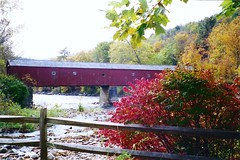 Red Covered Bridge 2 (spfrank) Tags: autumn 1996 ct fallfoliage waterfalls kentfalls