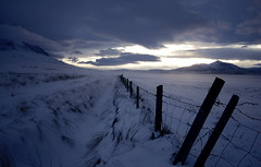 Blue winter (Villi.Ingi) Tags: blue winter light sun snow cold canon fence dark vanishingpoint iceland moody darkness wideangle explore getty 1020mm gettyimages pipc dapa 40d heartawards platinumheartawards betterthangood world100f dapagroupmeritaward1