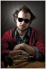 The Trumpet Player (<Dieter>) Tags: lighting light music male sunglasses leuven photoshop studio model poem belgium trumpet player vlaanderen vlaamsbrabant pellenberg strobist smallstrobe betterthangood twaaaat