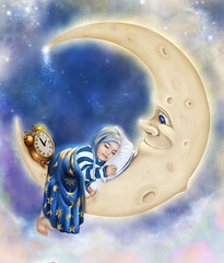 Bedtime (mylaphotography) Tags: sky moon clock clouds painting stars toddler sleep lol pillow blanket painter bedtime asleep corel hejab hajkhanom fairytalephotography