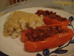 mashed potatoes stuffed peppers (julia_lynn) Tags: cooking dinner pepper vegan potatoes gravy veganomicon