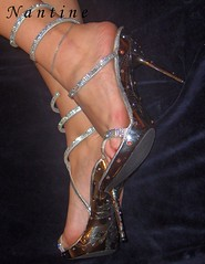 Swarovski Art 1 (Kwnstantina) Tags: feet foot highheels sandals arches barefoot swarovski paintednails longnails