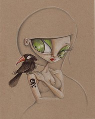 Raven (2008) (scarlettcat) Tags: portrait black scarlett bird girl illustration pencil skull blog gallery drawing character australia pirate crow raven crossbones figurative 696