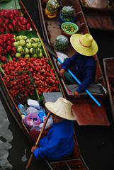 Floating shopping (DarioM_72) Tags: travel sky water vegetables fruit thailand boat asia market bangkok floating adventure tropical dariomilano