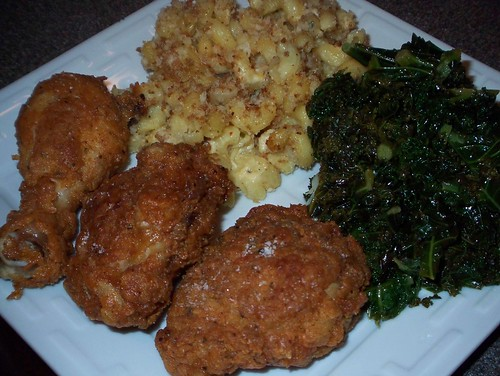 soul food fried chicken kale mac and cheese