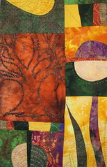 Autumn leaves closeup (jeanneaird) Tags: artquilt couching handdyedfabric
