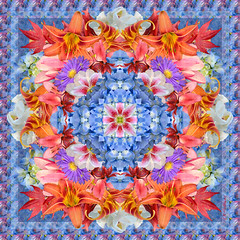 Blue floral scarf (KM Anderson) Tags: floral collage pattern silk kaleidoscope scarves