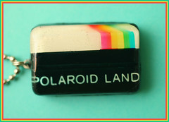 Polaroid Land (stOOpidgErL) Tags: camera white black sparkles vintage polaroid sx70 diy necklace rainbow handmade craft jewelry plastic resin pendant stoopidgerl