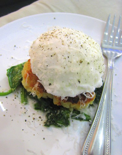 Risotto Cake with Spinach and Poached Egg