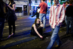 alone in the crowd - Cardiff (Maciej Dakowicz) Tags: uk people woman wales night sad crowd cardiff streetphotography late nightlife welsh stmarystreet