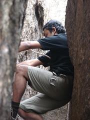 beginning the chimney climb (aanjhan) Tags: trekking bangalore rappelling rbin ramnagar chimneyclimbing