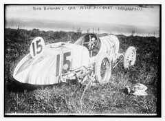 Bob Burman's car after accident - Indianapolis (LOC)