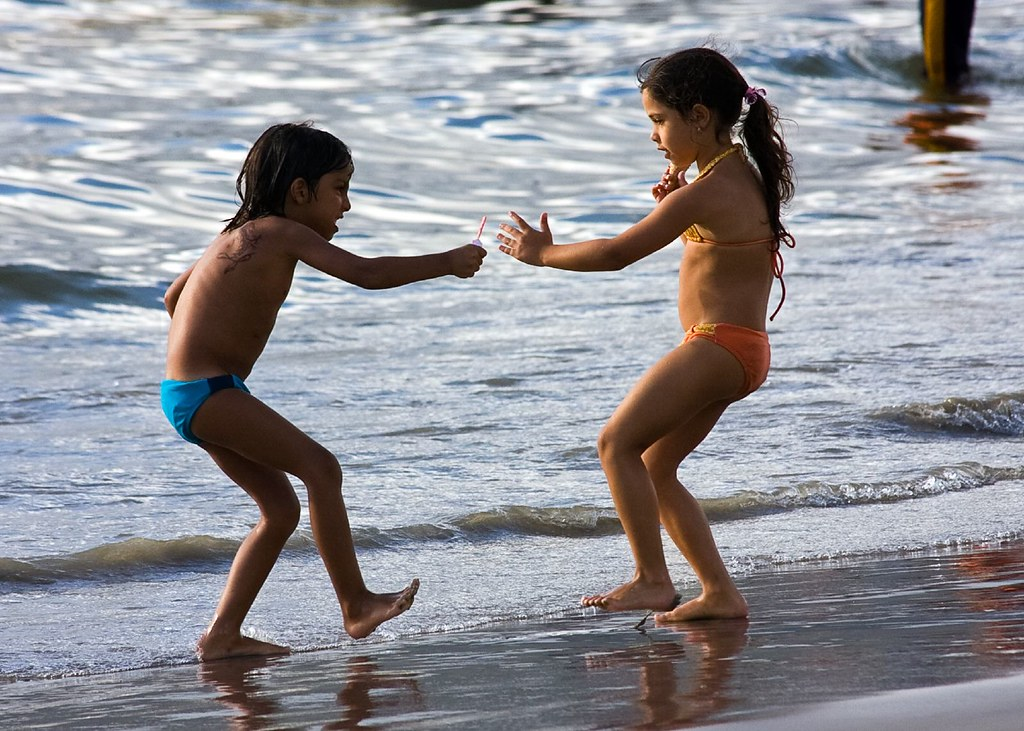 Little Kids Playing Karate at the Beach