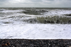 Storm, Sea, Shingle.... (lowbattery) Tags: sea storm beach water clouds grey sussex coast waves shingle overcast pebbles teddybear eastbourne southeast beachyhead crashing birlinggap fluffytoy