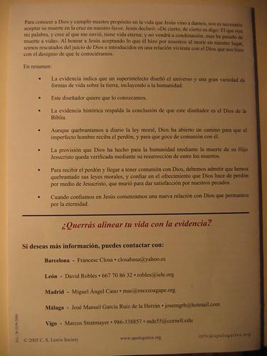 Panfleto sobre Diseño Inteligente (reverso)