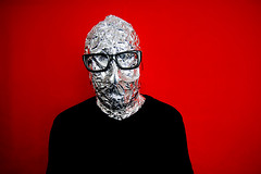 365 - 185 - tin man (the brownhorse) Tags: selfportrait aluminumfoil glasses tinman tinfoil redbackground silverfoil 365days brownhorse aplusphoto itwasbloodyhotandsweaty