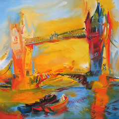 Tower Bridge, London (2000) by Stephen B Whatley (Stephen B Whatley) Tags: uk bridge sun sunlight london art water towerbridge reflections painting boats hongkong artist 2000 waves flags expressionism docklands ripples canarywharf riverthames toweroflondon barges stephenbwhatley towerbridgebystephenbwhatley