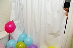 Balloons, balloons, balloons. (omiala) Tags: birthday balloons bathroom prank