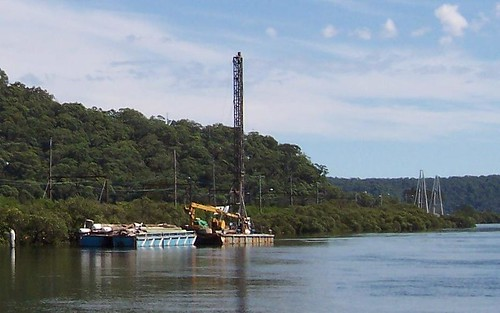 Equipment raft, pile driver & footbridge from Woy Woy Wharf