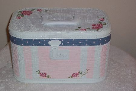 Hand Painted Roses Vintage Train Case