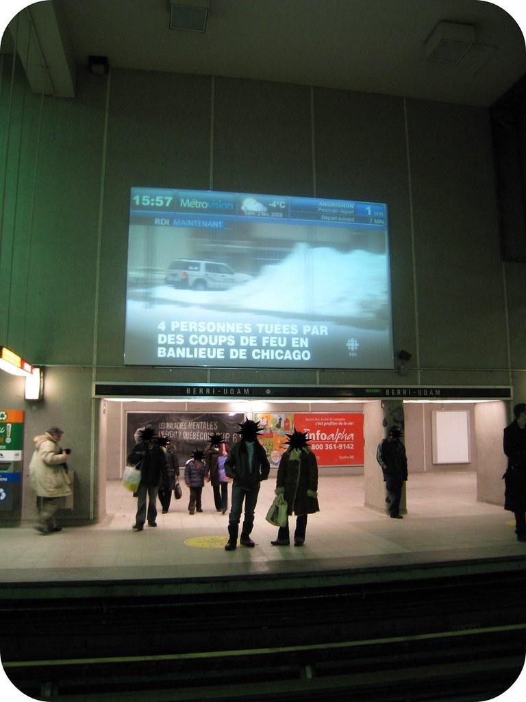 Écran au métro Berri Uqam
