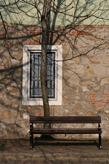 Vrnegyed (sonofsteppe) Tags: street wood old shadow stilllife brown inspiration reflection building tree art window glass vertical stone wall bench creativity wooden stem hungary exterior finding outdoor antique empty budapest gray nobody explore shade imagination material aged 60mm sunlit grilled visual exploration thewall buda windowframe bough individuality castledistrict ilmuro patched wallscape sonofsteppe pusztafia vrnegyed urbanlifeoftrees