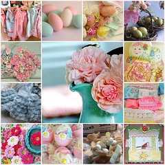 Springtime Inspirations (Sugar*Sugar) Tags: pink flowers blue roses cute bird floral yellow collage glitter vintage easter ruffles spring holidays aqua pretty basket candy nest sweet lace antique crafts treats cottage feathers sugar ephemera apron fabric thrift eggs ribbon supplies satin decor embellishments goodies binding millinery shabby springfever notions