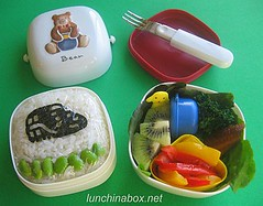 Train rice ball bento lunch for preschooler