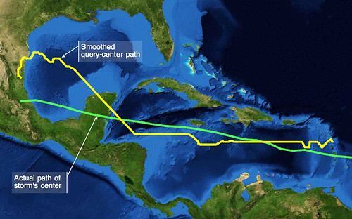 Hurricane Dean Queries Mapped