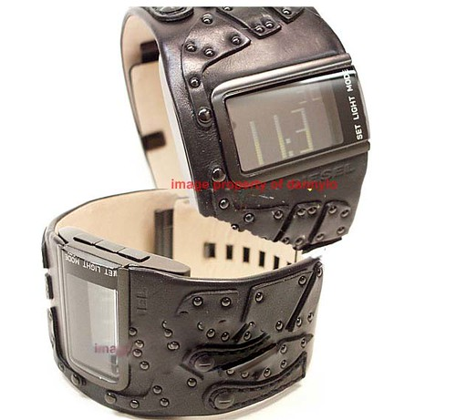 N E W !!! DIESEL WIDE BLACK LEATHER CUFF DIGITAL WATCH DZ7066
