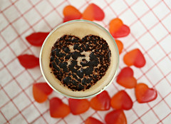 2017 Valentine Coffee (dominotic) Tags: 2017 valentinesday food love drink heart coffee latte lolly sweets candy chocolate happyvalentinesday