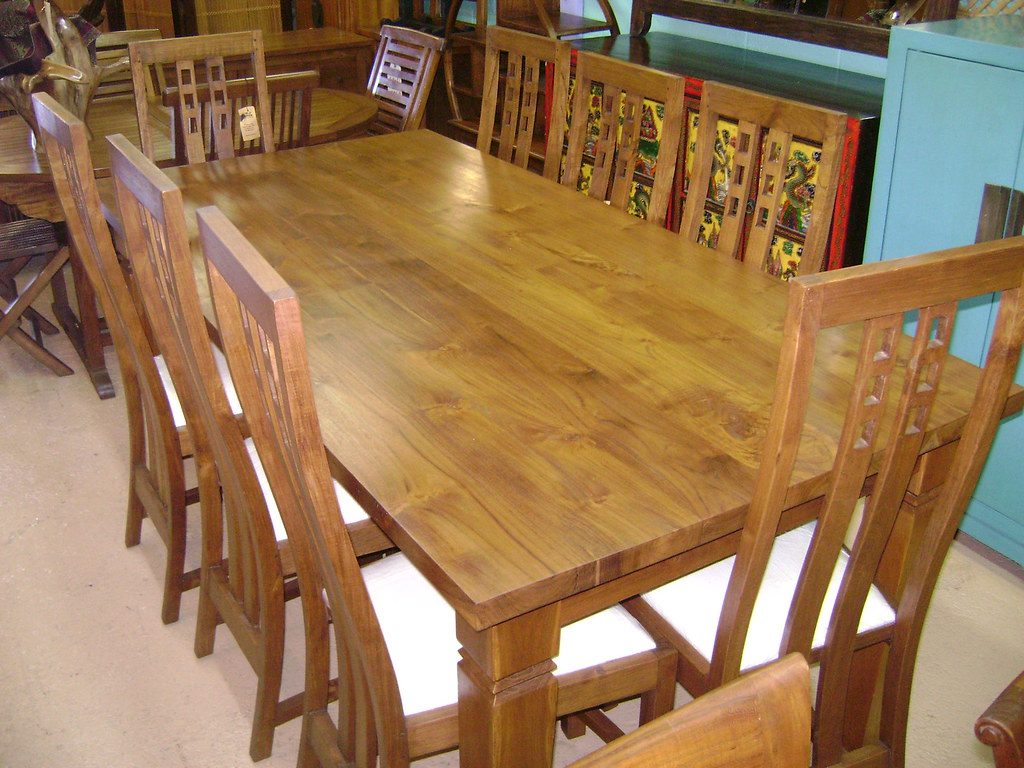 Teak Dining Table with 8 Chairs - WorldWide Furnishings 970 Queen St Honolulu Hawaii 96814: (Diamond Head Side of Ward) Open Monday-Sunday 10am-6pm Stop by or Call 808-593-2127