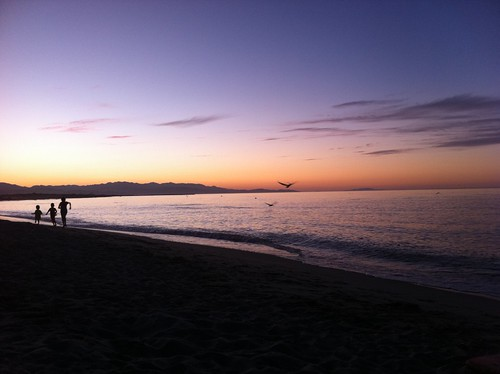 La Ribera beach at sunset.
